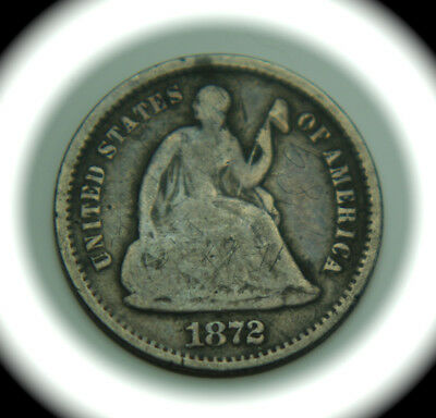 1872-S Liberty Seated Silver Half Dime - H10C - MM Below Bow - No Reserve!