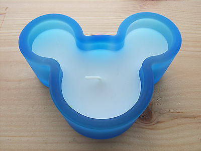 Mickey Mouse Head Ears SKY BLUE Frosted Glass Candle & Holder Disney RETIRED