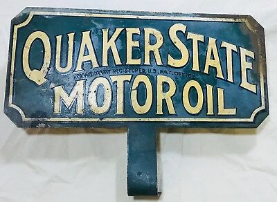 Vintage Double-sided Quaker State Motor Oil License Plate Topper - Great Colors!