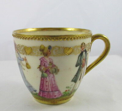 Antique Lamm Dresden China All Hand Painted Cup Classical People Hearts Topiary