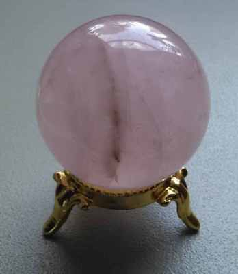 "Large Natural Rose Ghost Quartz Crystal Sphere Ball with Gold Stand ""Love Stone"""