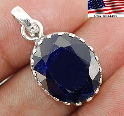 10CT Earth Mined Natural Sapphire 925 Solid Sterling Silver Pendant Jewelry