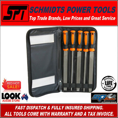 "SP TOOLS SP36035 5 PIECE METAL FILE SET 10"" 254mm WITH STORAGE POUCH - BRAND NEW"
