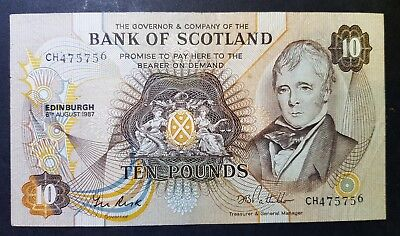 1987 SCOTLAND Bank of Scotland £10 Note VF+ Prefix CH