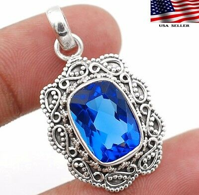 """8CT Sapphire 925 Sterling Silver Detailed Design Pendant Jewelry 1 1/3"""" Long"""