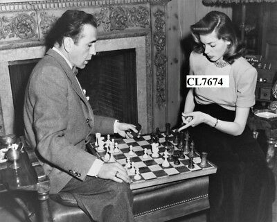 Humphrey Bogart and Lauren Bacall Playing Chess at Home Photo