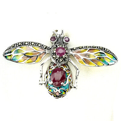Awesome 9x7mm Top Red Pink Ruby Marcasite 925 Silver Enamel Bee Pendant Brooch