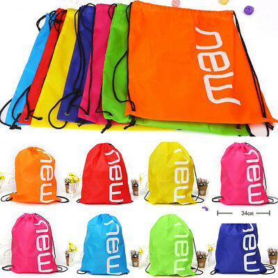 █ █ Travel Drawstring Backpack Sack Gym Waterproof School Sport Shoulder Bags