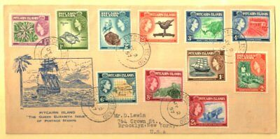 Pitcairn Islands 1957 Qeii Set First Day Cover Fresh Elusive