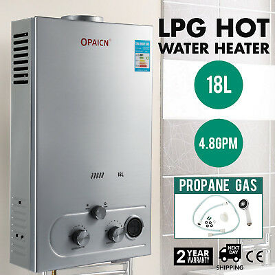 18L LPG Gas Hot Water Heater Instant Tankless Boiler 5GPM 36KW Shower Bath Home
