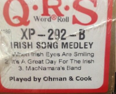 IRISH SONG MEDLEY  3 Selections BRAND NEW LONG PLAY  PIANOLA  PLAYER PIANO ROLL
