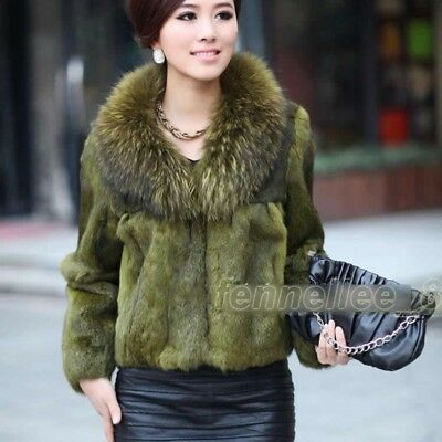 76a64f768 Womens Raccoon Fur Collar Genuine Rabbit Fur Jacket Outwear Coat Winter  Parka Sz
