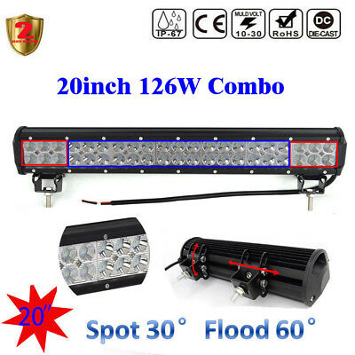 """126W 20"""" inch LED WORK LIGHT BAR FLOOD SPOT COMBO # OFFROAD 4WD SUV Driving LAMP"""