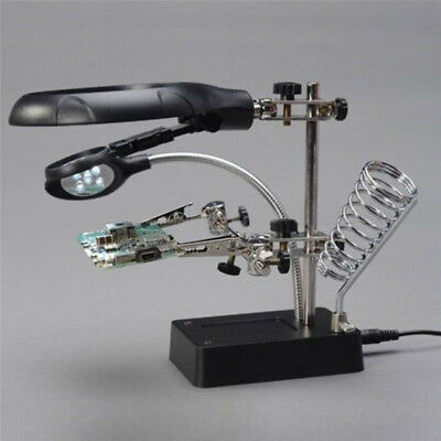 Helping Hand Soldering Stand With #Magnifier Magnifying Glass 3 Lens 5 LED Light
