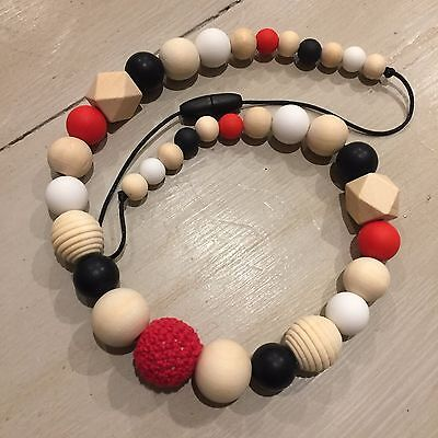Sensory Teething Necklace, Red Full 65cm Parent & Bub Nursing, Natural,Hand Made