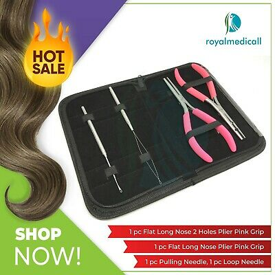 Flat Micro Ring Hair Extensions Pliers 3.6mm Hole Loop and Pulling needles Set