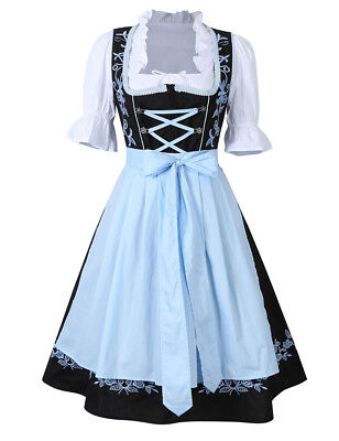 3Pcs Womens Traditional Bavarian German Classic Dirndl Dress Oktoberfest Costume