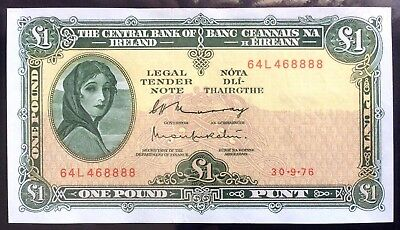 1976 Ireland, Central Bank, 1 Pound Punt- VF+