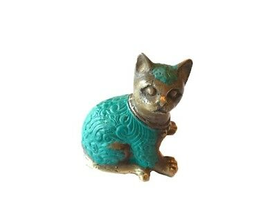 vintage  show pet animal art home room deco  sculpture table show cut cat bronze
