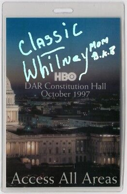 Whitney Houston authentic 1997 Laminate Backstage Pass HBO DAR Constitution Hall