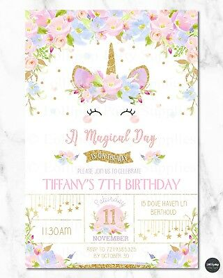 Unicorn Invitation Invite Girls 1St First Birthday Party Rainbow Floral Any Age