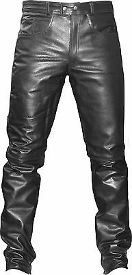 Men Motorcycle Leather Jean Pants Trouser Waist 32-42