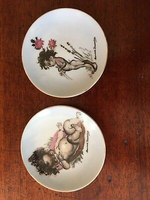 2 X Vintage Brownie Downing Signed Dishes With Aboriginal Children