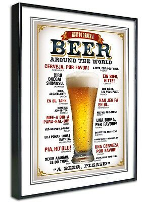 World Beers Framed Canvas Art Print Poster, Retro Vintage, A4 A3, Man Cave, Bar