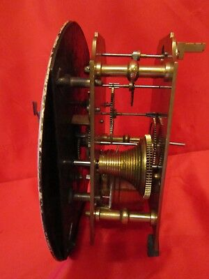 Early 19th century fusee timepiece movement complete with dial and pendulum