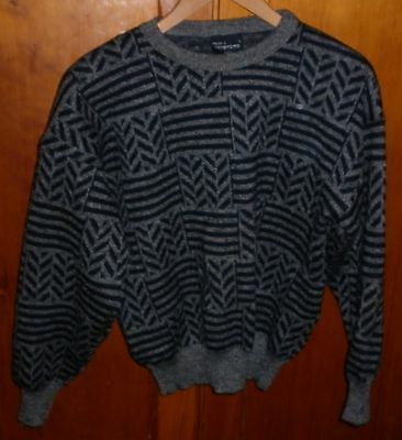 VINTAGE L 1980s FARENTINO ITALY BLACK GREY JUMPER EXCELLENT CONDITION