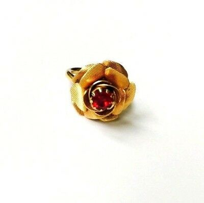 Vintage Textured Rose Red Rhinestone Adjustable Gold Tone Ring Sz. 6
