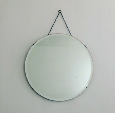 Large Vintage Art Deco Round Beveled Edge Hanging Wall Mirror With Chain