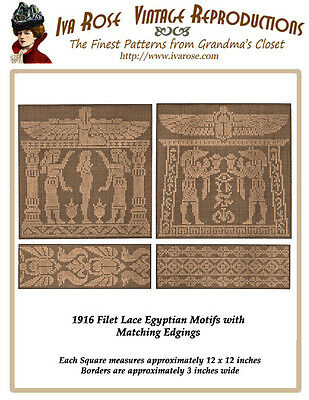 1916 Filet Lace Chart Pack Ancient Egyptian Style Motif