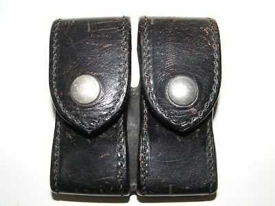 Vintage SAFARILAND Black Leather Duty 370-2-C Double Magazine Pouch Case Star 10
