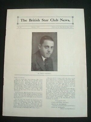 SCARCE BRITISH STAR CLUB NEWS MAGAZINE No 11 OCT 1930 COVER PIC BILLY MAYERL