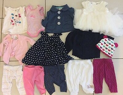 Bulk Baby Girls Size 000 0-3 Months Clothes Winter Summer 13 items