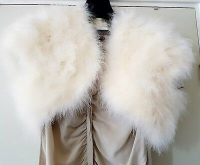 John Lewis Marabou Feather Ivory Bolero/ Shrug, size 12, art deco style!