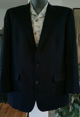 Brooks Brothers Brooksease Vented 2 Button 100% Navy Blue Sport Suit Coat 44L