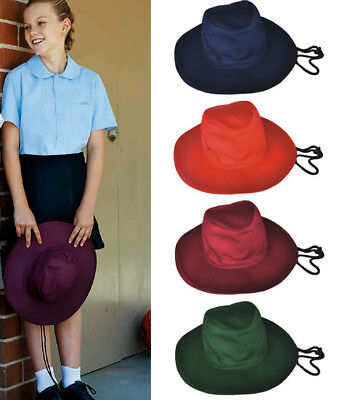 Kids Girls School Soft Crown Wide Brim Hat Sunhat with Neck Cord and Toggle New