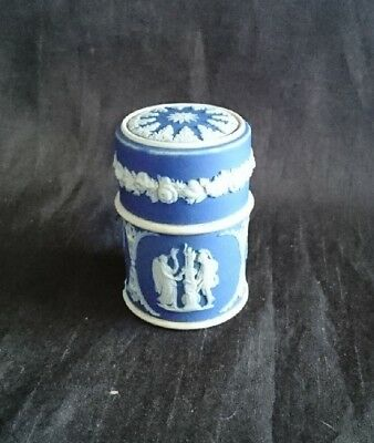 *TRADITIONAL Vintage BLUE WEDGWOOD JASPER WARE Pin TRINKET POT w/ LID 7cm*