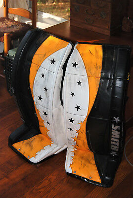 "Smith Custom Made Goalie Pads - Boston Bruins - Starburst Design - 34"" - Excel!"