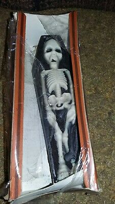 Vintage Halloween CANDLE Skeleton in Casket Coffin GURLEY with Box 8""