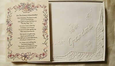 Wedding Hankie for Groom's Grandmother and Poem NIB Vintage