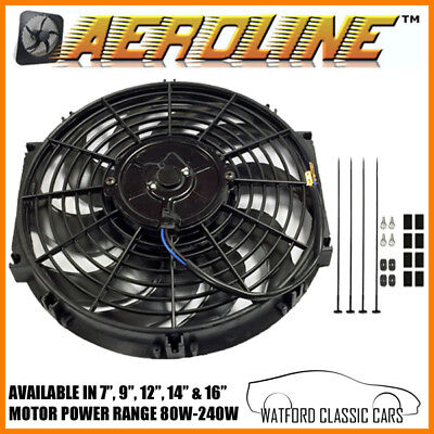 """Aeroline Cooling Fan For Vintage & Classic Cars  7"""",9"""",12"""",16"""" plus Thermostat"""