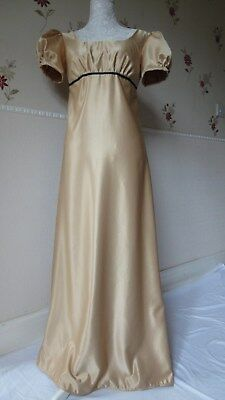 Ladies Jane Austen Period Regency Dress  Size 10 in gold satin