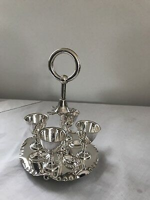 Four Vintage Silver Plated Egg Cups On Stunning Stand