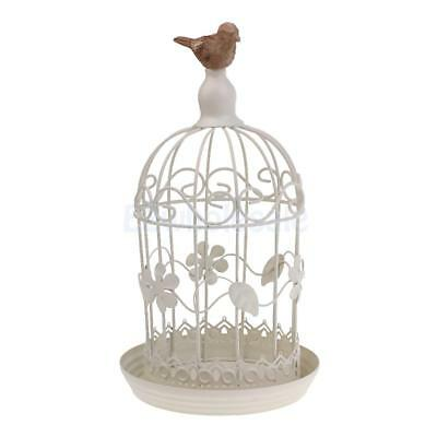 Metal Holder Bird Cage Style Candle Holder Rustic Ornament European White #3