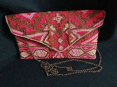 New Look Pink White Gold Beaded Red Silk Lining Metal Strap Evening Bag