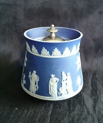 *VINTAGE WEDGWOOD Blue JASPER WARE Pot SUGAR Condiment POT 9cm*