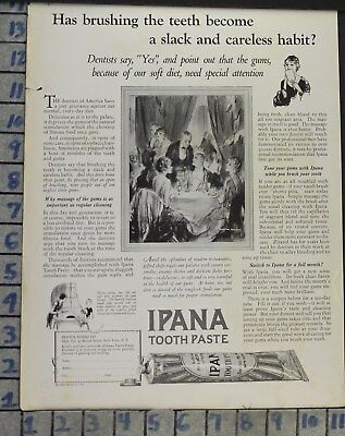 1926 Dental Medical Ipana Toothpaste Dinner Party Fashion Vintage Ad Cj7